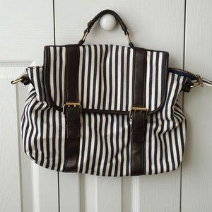 F21☆Navy&Cream Striped Bag